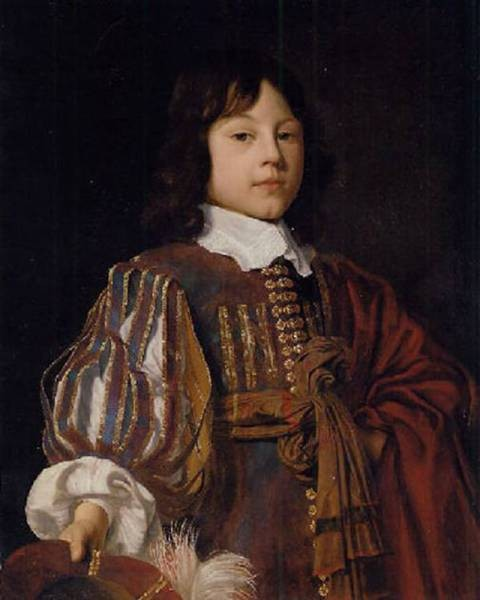 Portrait of a young gentleman in a burgundy doublet with slashed sleeves and a sash a feathered cap in hand